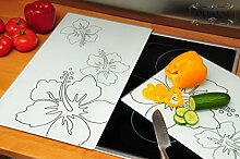 Grill- & Herdabdeckplatten 2-tlg. Set weiß, Herdabdeckung + Spritzschutz Glas, Herdblende,Herdabdeckplatte für Elektroherd mit Ceran,Ceranfeld,Induktion Kochfeld - auch als Grill-Schneidebrett Maße viereckig je ca. 52 cm x 30 cm x 0,8 cm - Herdplatten Abdeckung Schneidbretter Glaskeramik Kochfelder Kochplatten, Herdset einzeln doppel doppelt rund, Kinderschutz für Herdfeld Herdglas Ofen Backofen, Herdzubehör, Kochfeldplatten gross