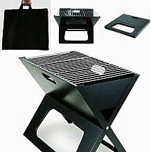 Grill klein mitnehmen Klappgrill Camping-grill Angebot Faltgrill mit Tasche Sommer BBQ mitnehmen Tragetasche schwarz
