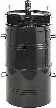Grill mit Räucherkammer aus Metall, schwarz