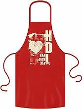 Grill-Motiv-Schürze / Geschenkeidee für Verliebte / Ideal als Geburtstagsgeschenk / Print: Hab Dich lieb Farbe:ro