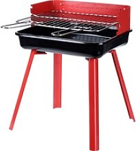 Grill rechteckig 36x26x45cm Rot - Grill Standgrill