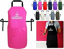 Grill Sergeant BBQ und Kochen Schürze–Military, Design inspiriert–Luxus British Made Schürze mit Tasche, b. Bubblegum Pink Cotton, Large 90cm x 70cm