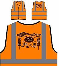 Grill Und Grill Grill Personalisierte High Visibility Orange Sicherheitsjacke Weste m793vo