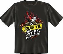 Grillen - Born to grill - Fun T-Shirt 100% Baumwolle - Größe L