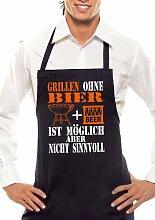 GRILLEN OHNE BIER - Zweifarbig - Grillschürze Schwarz / Orange-Weiss