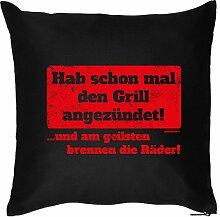 GRILLER Deko Kissen ::: Grill angezündet :::