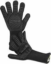 Grillhandschuhe hitzebeständig bis 500 °C/1 Paar/schwarz/lange Ofenhandschuhe/Topfhandschuhe/Backhandschuhe/Kaminhandschuhe/BBQ Handschuhe