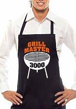 GRILLMASTER 3000 - Zweifarbig - Grillschürze Schwarz / Orange-Weiss