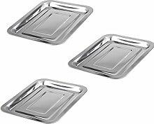 Grillschale Edelstahl BBQ Barbecue Grillplatte Menüschalen Obstschale Tropfschale Küchengerät Set (3* Grillschale 27x20cm)