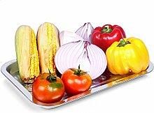 Grillschale Edelstahl BBQ Barbecue Grillplatte Menüschalen Obstschale Tropfschale Küchengerät Set (3* Grillschale 32x22)
