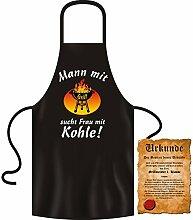Grillschürze ::: Mann mit Grill sucht Frau mit Kohle! ::: Koch Kittel mit Urkunde
