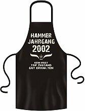 Grillschürze - Kochschürze mit Geburtstags Urkunde als Geschenk -:- 16. Geburtstag -:- Hammer Jahrgang 2002 -:- Farbe:schwarz