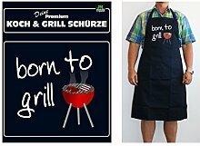 Grillschürzen Kochschürzen in Gastronomie Qualität für Männer Spruchschürze lustiger Spruch, Spruchartikel:born to grill