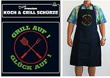 Grillschürzen Kochschürzen in Gastronomie Qualität für Männer Spruchschürze lustiger Spruch, Spruchartikel:Grill auf Glück auf