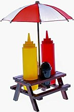 Grillset Holz-Picknicktisch mit Sonnenschirm,
