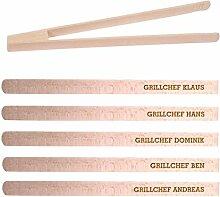 Grillzange aus Holz mit hochwertiger Namens-Gravur