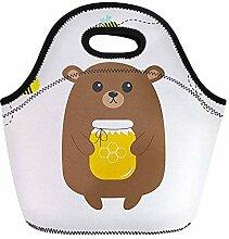 Grizzly Lunch-Tasche, Braunbär, Honigglas,