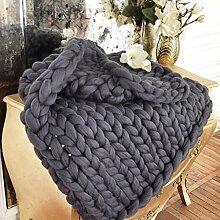 grob gestrickte super schwere Wolldecke in 100% Premium Merino Wolle anthrazit / dunkelgrau 150 x 200 cm
