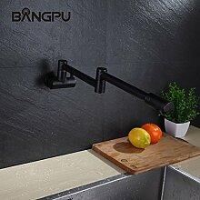 Groeshane Kupfer Schwarz Wand falten Single Küche Armatur Waschbecken Balkon ausziehbare Drehkopf, Orb Schwarz
