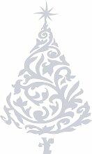 Größe 100 cm x 60 cm Farbe Metalic Silber Weihnachtsbaum, Weihnachten, Yule , Wandsticker, Kinderzimmer Aufkleber , Ornament Vinyl-Aufkleber , ThatVinylPlace