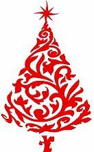 Größe 100 cm x 60 cm Farbe Rot Weihnachtsbaum, Weihnachten, Yule , Wandsticker, Kinderzimmer Aufkleber , Ornament Vinyl-Aufkleber , ThatVinylPlace
