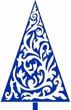 Größe 35 cm x 56 cm Farbe Azurblau Weihnachtsbaum, Weihnachten Aufkleber, Yule , Wandsticker , Fenster Aufkleber, ThatVinylPlace