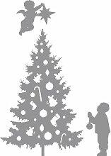 Größe 35 cm x 58 cm Farbe Grau Weihnachtsbaum, Weihnachten Aufkleber, Yule , Wandsticker , Fenster Aufkleber, ThatVinylPlace
