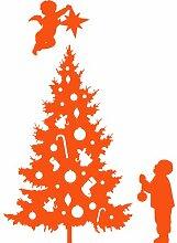 Größe 35 cm x 58 cm Farbe orange Weihnachtsbaum, Weihnachten Aufkleber, Yule , Wandsticker , Fenster Aufkleber, ThatVinylPlace