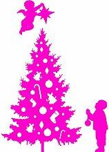 Größe 35 cm x 58 cm Farbe Rosa Weihnachtsbaum, Weihnachten Aufkleber, Yule , Wandsticker , Fenster Aufkleber, ThatVinylPlace