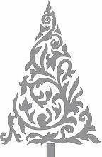 Größe 54 cm x 35 cm Farbe Grau Weihnachtsbaum, Weihnachten Aufkleber, Yule , Wandsticker , Fenster Aufkleber, ThatVinylPlace