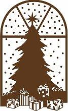 Größe 58 cm x 35 cm Farbe Braun Weihnachtsbaum, Weihnachten Aufkleber, Yule , Wandsticker , Fenster Aufkleber, ThatVinylPlace