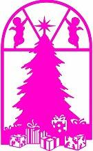 Größe 58 cm x 35 cm Farbe Rosa Weihnachtsbaum, Weihnachten Aufkleber, Yule , Wandsticker , Fenster Aufkleber, ThatVinylPlace
