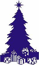 Größe 58 cm x 35 cm Farbe Sapphire Blue Christmas Tree , Weihnachten Aufkleber, Yule , Wandsticker , Fenster Aufkleber, ThatVinylPlace