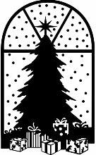 Größe 58 cm x 35 cm Farbe Schwarz Weihnachtsbaum, Weihnachten Aufkleber, Yule , Wandsticker , Fenster Aufkleber, ThatVinylPlace