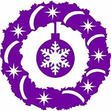 Größe 60 cm x 60 cm Farbe Purpple Adventskranz, Weihnachtsschmuck, Wandaufkleber, Fenster Aufkleber Vinyl Kunst, Weihnachten, Sterne, engel, Schneeflocke, Weihnachtsbaum Decals Vinyl Aufkleber ThatVinylPlace