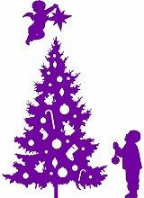 Größe 60 cm x 85 cm Farbe Purpple Weihnachtsbaum, Weihnachten Aufkleber, Yule , Wandsticker , Fenster Aufkleber, ThatVinylPlace