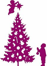 Größe 60 cm x 85 cm Farbe Raspberry Weihnachtsbaum, Weihnachten Aufkleber, Yule , Wandsticker , Fenster Aufkleber, ThatVinylPlace