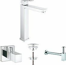 Grohe Eurocube Badarmatur (für freistehende Waschschüsseln, Eckventil, Ablaufventil und Geruchverschluss)