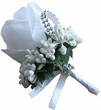 Groom Boutonniere Knopflöcher Groomsman Best Man Rose Hochzeit Blumen Brosche Pin Zubehör Ball Party Anzug Dekoration weiß