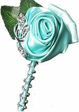 Groom Boutonniere Knopflöcher Groomsman Best Man Rose Hochzeit Blumen Brosche Pin Zubehör Ball Party Anzug Dekoration tiffany blue