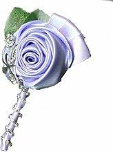 Groom Boutonniere Knopflöcher Groomsman Best Man Rose Hochzeit Blumen Brosche Pin Zubehör Ball Party Anzug Dekoration hellviole