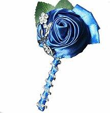 Groom Boutonniere Knopflöcher Groomsman Best Man Rose Hochzeit Blumen Brosche Pin Zubehör Ball Party Anzug Dekoration königsblau