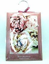Groß, 60g Peony & Rosenblätter–Duft Kleiderschrank Kleiderbügel–Double Duftsachet in–Peony & Rose Petals