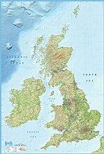 Gross Britanien Landkarte englisch Foto-Tapete 2-teilig - Fototapete Wallpaper 232x158cm. Beigelegt sind eine Packung Kleber und eine Klebeanleitung.