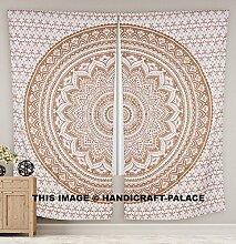 Groß Gold Ombre Mandala Fenster Vorhang Drape