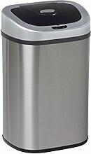 Groß Innen Recyclingmüll Twin/Single Müll Küche Utility Staub Mülleimer Sensor, Edelstahl, silber, 40+40L