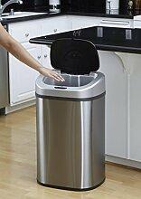 Groß Innen Recyclingmüll Twin/Single Müll Küche Utility Staub Mülleimer Sensor, Edelstahl, silber, 80L