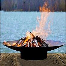 Groß Kohlenstoffstahl Feuerschalen Korb Garten