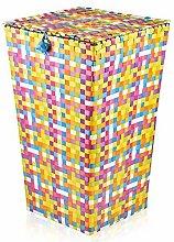 groß Rattan Wäschekorb & Deckel gewebt mehrfarbig Waschen Mülleimer Kleider Geschenkkorb