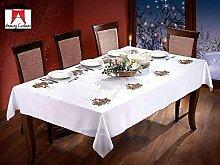 Groß Weihnachten Tischdecke mit Kerzen Muster 110cm x 150cm (109,2x 149,9cm) weiß